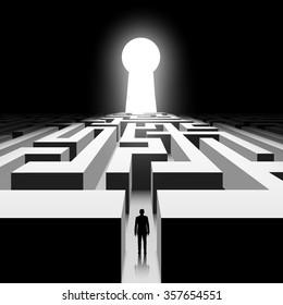 Dark labyrinth. Silhouette of man. Stock illustration.