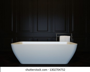 Dark luxury bathroom interior with bathtub. 3d image, 3d rendering