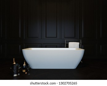 Dark luxury bathroom interior with bathtub and champagne. 3d image, 3d rendering