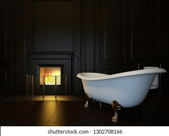 Dark luxury bathroom interior with bathtub and fireplace. 3d image, 3d rendering
