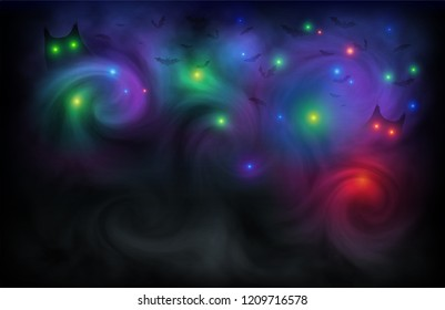 Dark magic light in fog Halloween background with bats and owls.