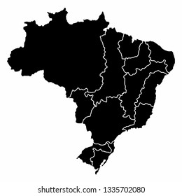 A dark map with the Brazilian hydrographic regions