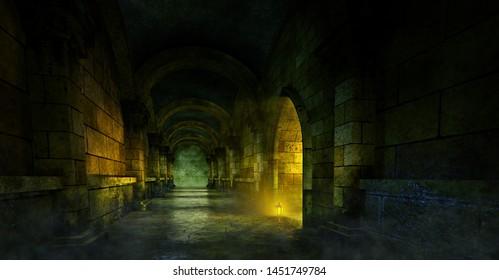 Dark medieval dungeon. 3D illustration