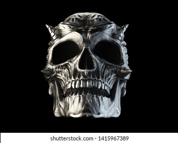 Dark metal demon skull with spikes on the cheeks and brow - 3D Illustration