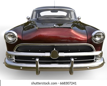 Dark metallic red awesome vintage car - front view closeup shot - 3D Illustration