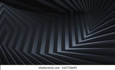 Dark modern abstract background with stripes and sharp edges, bended background, design, website background, modern shape concept, elegant 3d render, dark dynamic background, twist, bend