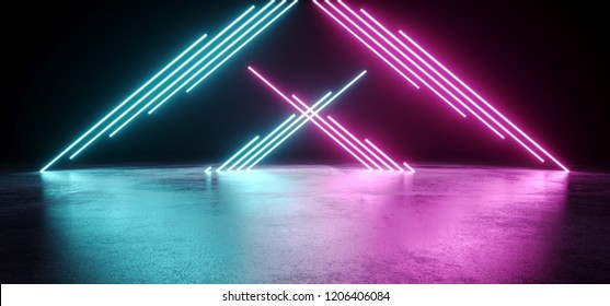 Dark Modern Futuristic Alien Reflective Empty Room With Purple And Blue Triangle Shaped Neon Glowing Light Tubes Background Grunge Concrete Floor 3D Rendering Illustration