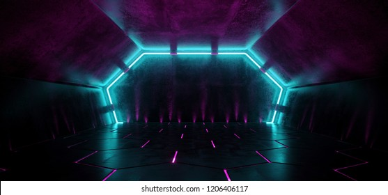 Dark Modern Futuristic Alien Reflective Concrete Corridor Tunnel Empty Room With Purple And Blue Neon Glowing Lights Background Hexagon Floor 3D Rendering Illustration