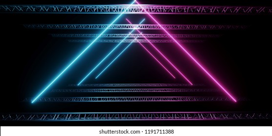Dark Modern Sci-Fi Futuristic Neon Glowing Blue And Purple Triangle Shaped Lights Tubes  Club Stage With Empty Space And Black Background 3D Rendering Illustration