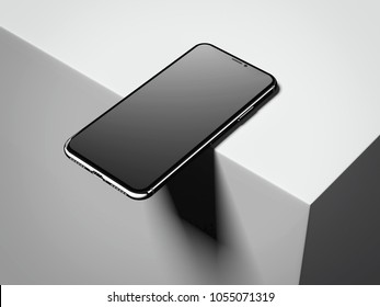 Dark modern smartphone on the box edge. 3d rendering