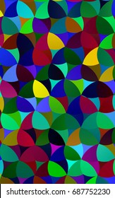 Dark Multicolor, Rainbow pattern with colored spheres. Geometric sample of repeating circles on white background in halftone style.