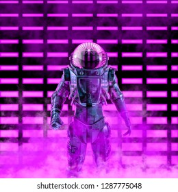 The dark neon astronaut / 3D illustration of science fiction scene with astronaut in armoured space suit in front of glowing neon lights