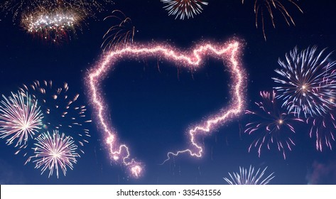 A dark night sky with a sparkling red firecracker in the shape of Cambodia composed into.(series)