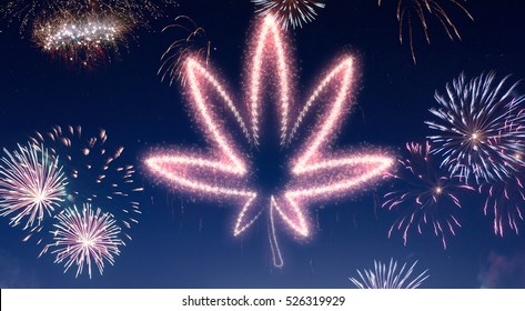 A dark night sky with a sparkling red firecracker in the shape of a weed leaf composed into.(series)