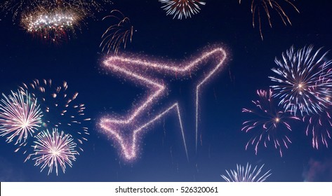 A dark night sky with a sparkling red firecracker in the shape of an airplane composed into.(series)
