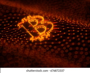 Dark Orange Bitcoin Sign Built as an Array of Transactions in Blockchain Conceptual 3d Illustration Background