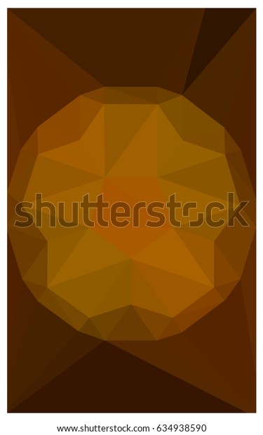 Dark Orange polygonal illustration, which consist of triangles with a gemstone in center. Triangular design of a huge diamond for your business. Creative geometric background of gems.