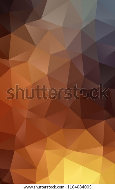 Dark Orange vertical low poly template. A vague abstract illustration with gradient. The completely new template can be used for your brand book.