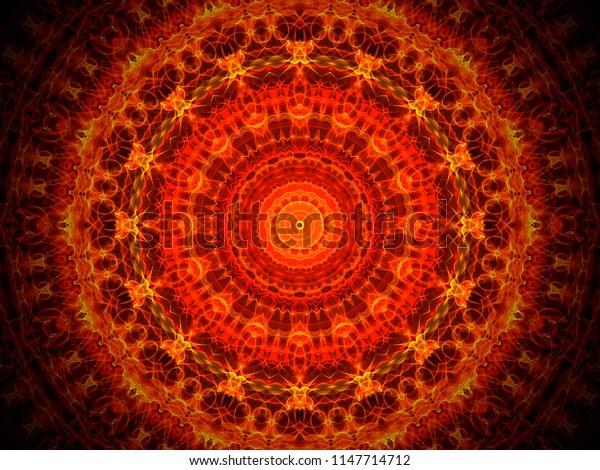 dark orange and yellow ornate round  mandala design with complex arabesque  geometric symmetry