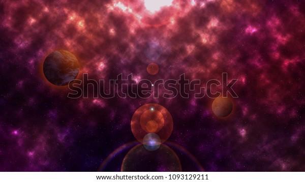 Dark Orbit Planets Stock Illustration 1093129211