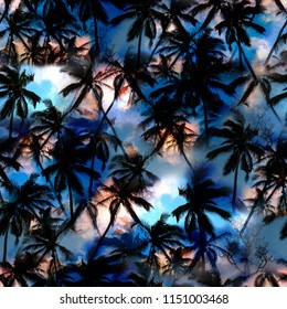 Dark Palm trees pattern amazing seamless background exotic photo collage. Aloha fashion for summer design. Effect Miami beach with palm trees silhouettes on the night sky sunset - artistic mix design