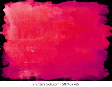 Dark Pink saturated watercolor background, luscious palette. Abstract canvas with paper texture.