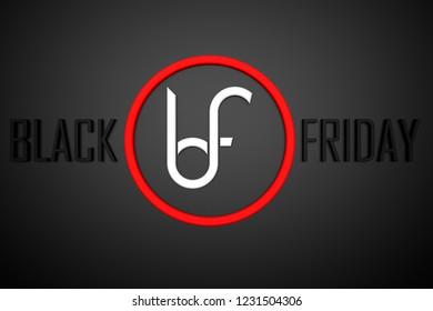 Dark poster with logo for the famous day of sale, Black Friday in colour red and white