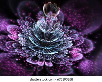 Dark purple fractal flower with pollen, digital artwork for creative graphic design