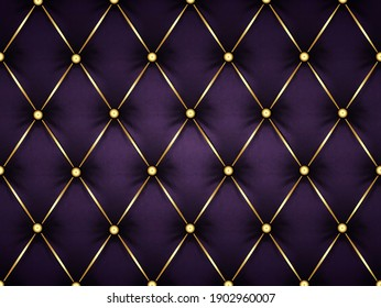 dark purple leather capitone background texture. Violet glossy upholstery premium dark fabric texture. Retro Chesterfield style soft tufted furniture 3d render with deep diamond pattern and buttons