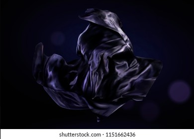 Dark purple satin design element on glitter background, 3d illustration