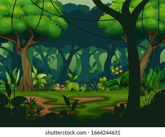 Dark rainforest with trees background