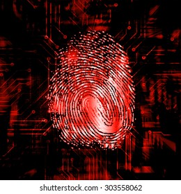 dark red Abstract digital conceptual technology security background with lock. computer technology website internet web. infographics. fingerprint. Finger-print scanning