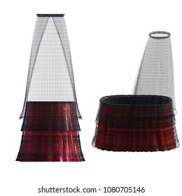 Dark red bassinets with black lace canopy isolated on white, 3d render.