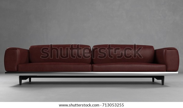 Dark Red Leather Sofa Couch Living Stock Illustration 713053255