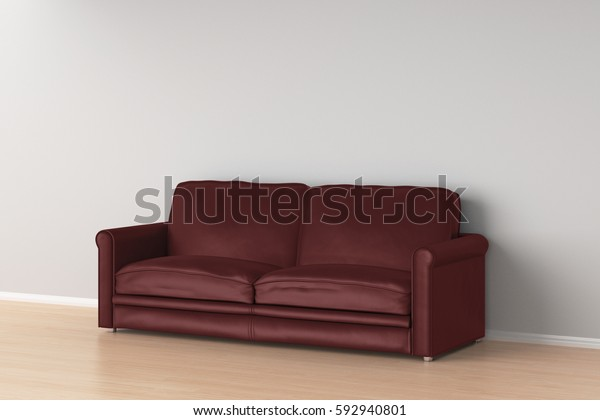 Dark Red Leather Sofa Interior 3d Stock Illustration 592940801
