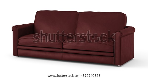 Dark Red Leather Sofa Isolated On Stock Image | Download Now