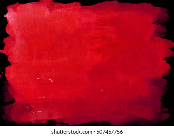Dark Red saturated watercolor background, luscious palette. Abstract canvas with paper texture.