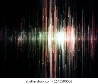 Dark red sound waves with depth of field. 3d illustration