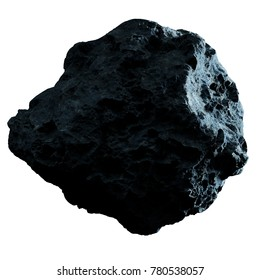 Dark rock asteroid isolated on white background 3D rendering