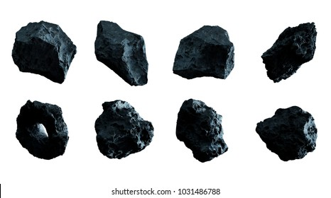 Dark rock asteroid pack on white background 3D rendering