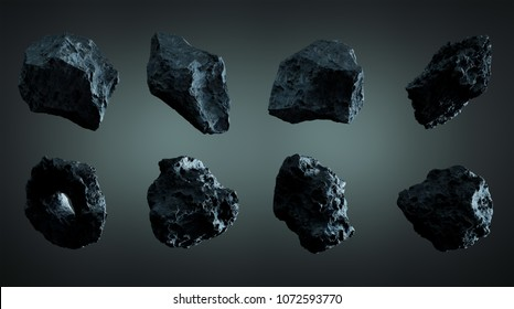 Dark rock asteroid pack on grey background 3D rendering