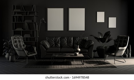 Dark room with picture frames in plain monochrome gray tones with sofa,chair,plant on a carpet. Black background. 3D rendering, poster background.