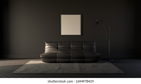 Dark room in plain monochrome gray tones with sofa,chair,plants  and floor lamp on a carpet. Black background with, solid, flat colors. 3D rendering for poster frames.