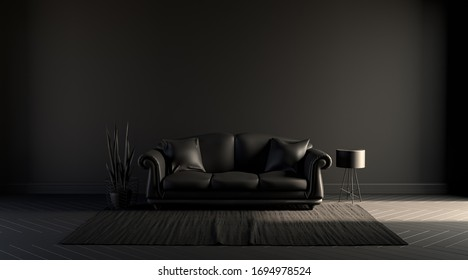 Dark room, poster background with empty wall, sofa, chair, plant, carpet and curtain in  monochrome black color, 3d rendering for picture frames.