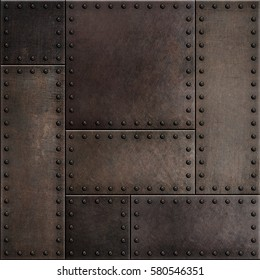 Dark rusty metal plates with rivets seamless background 3d illustration