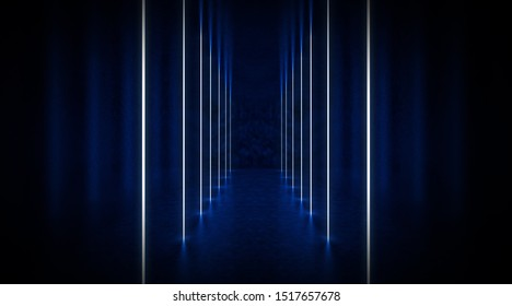 Dark scene, room with neon light beams. Futuristic neon background. Smoke, night view, wall lighting. Abstract light, light tunnel, backlit design on stage. Brick wall. 3D illustration.