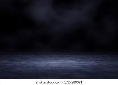 Dark scene with smoke background. 3D rendering.