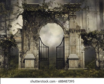 Dark scenery with a gothic garden gate and vines in a forest. 3D illustration