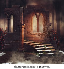 Dark scenery with old ruins and rose vines in a dark forest. 3D illustration.