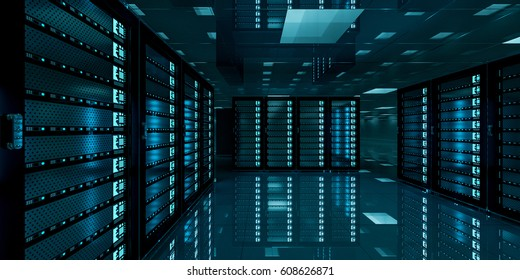 Dark server room data center storage with blue lights 3D rendering